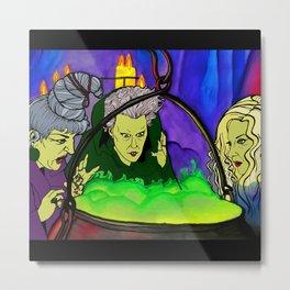 Hocus Pocus Sanderson Sisters Witches Cauldron Fanart Illustration Metal Print