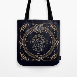 Virgo Zodiac Gold White on Black Background Tote Bag