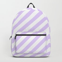 Chalky Pale Lilac Pastel and White Candy Cane Stripes Backpack