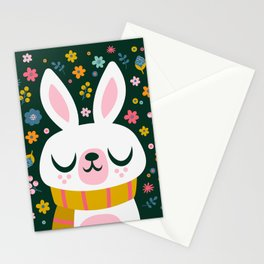 Bunny with a Scarf and Flowers / Cute Animal Stationery Cards