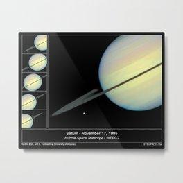 Hubble Space Telescope - Hubble Sees Moons Racing Across Saturn Metal Print