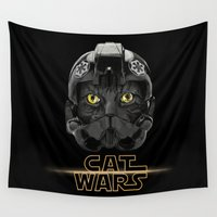 pilot Wall Tapestries featuring Cat Wars Imperial Pilot by Detullio Pasquale