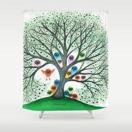 Teton Owls in Tree Shower Curtain