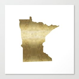 minnesota gold foil state map Canvas Print