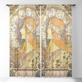 La Plume Zodiac - Alphonse Mucha Sheer Curtain