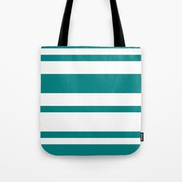 Mixed Horizontal Stripes - White and Dark Cyan Tote Bag