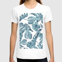 Teal Blue Tropical Palm Leaves Flowers T-shirt