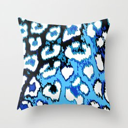 Black and Blue Leopard Spots Throw Pillow