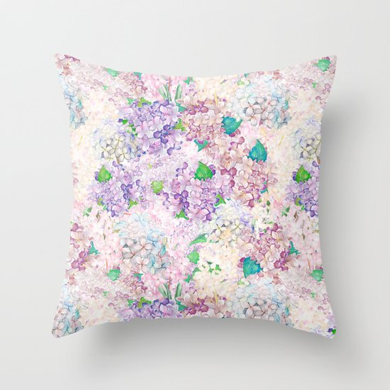 Lilac Floral Throw Pillow : Pastel Purple and blue Lilac & Hydrangea - Flower Design Throw Pillow by UtArt Society6