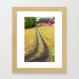 Red Barn Dirt Road Framed Art Print