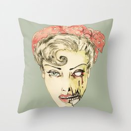 zombie pin-up retro housewife horror rockabilly scarf wearing strong woman Throw Pillow