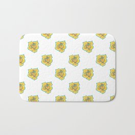 Yellow and Turquoise Rose Bath Mat