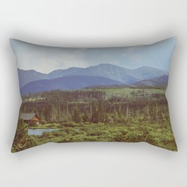 Beneath blue giants, in the green valley Rectangular Pillow