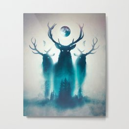 Deer Painting | Antlers | Forest | Moon | Occult | Vintage | Pine Trees Metal Print