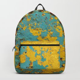 yellow and blue worn paint and rust texture Backpack