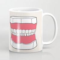teeth Mugs featuring Uzual Teeth by uzualsunday