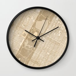 Vintage map of Manhattan Central park in sepia Wall Clock
