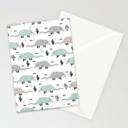 Cool western cactus desert Armadillo Animals illustration pattern Stationery Cards