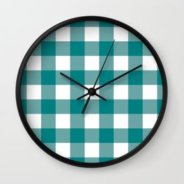 Gingham (Teal/White) Wall Clock