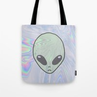 pastel goth Tote Bags featuring Alien Pastel by Hipster's Wonderland