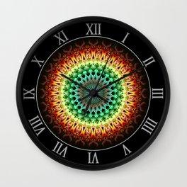 Mandala in yellow, green , orange and red tones Wall Clock