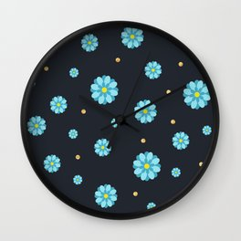 Abstract elegance and cute pattern with blue flowers and dark gray background. Wall Clock