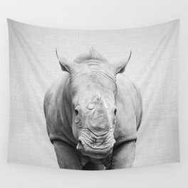 Rhino 2 - Black & White Wall Tapestry