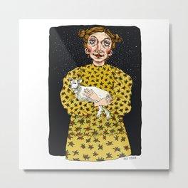 Girl with sheep Metal Print