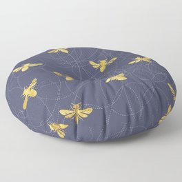 Flying Gold Bees On A Dark Blue Background Floor Pillow