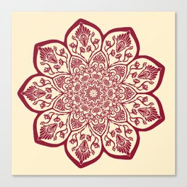 Burgundy & Cream Mandala Canvas Print