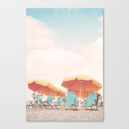 Beach Chairs and Umbrellas Canvas Print