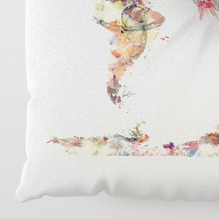 world map watercolor deux Floor Pillow
