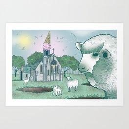 Sheep Church Art Print