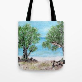 Kefalonia acrylic painting on canvas scanned at 600dpi Tote Bag