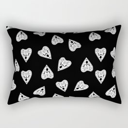 Ouija planchette black and white linocut pattern gifts spiritual magical witches Rectangular Pillow