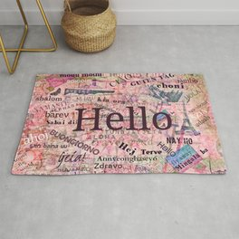 Hello in different languages travel quote Rug