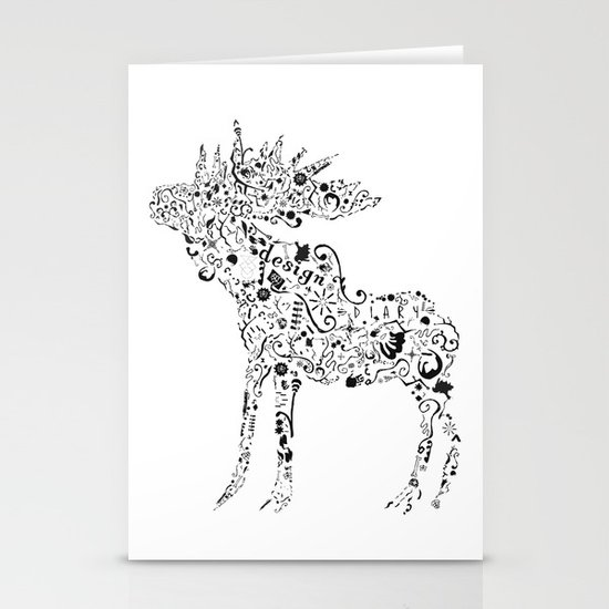 Many shapes of the Moose Stationery Cards