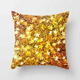 Glittering Golden Stars Throw Pillow