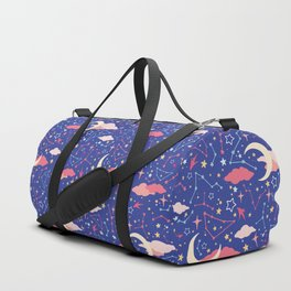 Constellation Stars and Moons in Neon Pastels Duffle Bag