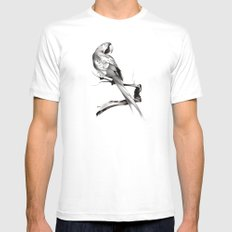 parrot White Mens Fitted Tee MEDIUM