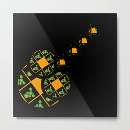 Orange and Green Spaces 110 Metal Print