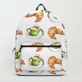 Watercolor Coffee and Croissant Pattern Backpack