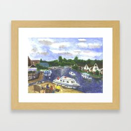 View from Wroxham Bridge, Norfolk Broads Watercolour Print Framed Art Print