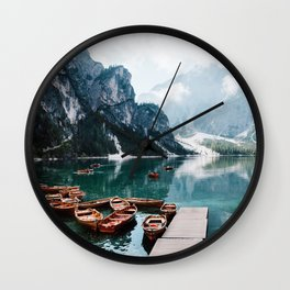 Perfect Scenic Nature View Lake Braies\ Mountain Foggy Sunrise Beautiful Backpacking Landscape Photo Wall Clock