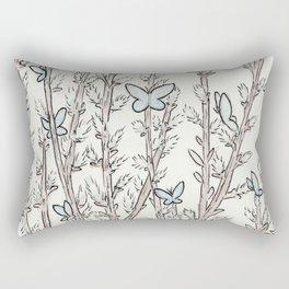 Blue Moth Pussy Willow Rectangular Pillow