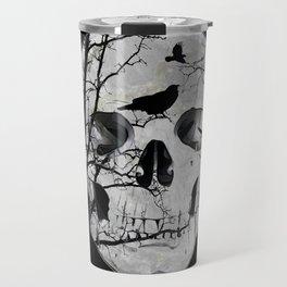 Gothic Skull Crow Rose A353 Travel Mug