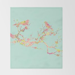 Love Birds on Branch Vintage Floral Shabby Chic Pink Yellow Mint Throw Blanket