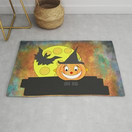 Funny laughing pumpkin head with bat and moon Rug