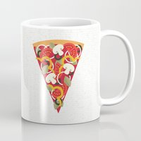 miles davis Mugs featuring PIZZA POWER - VEGO VERSION by Daisy Beatrice