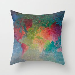 Recycled Color World Map Throw Pillow